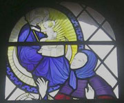 Stain glass window in the Anglican Shrine Church showing Richeldis' vision of the Virgin Mary