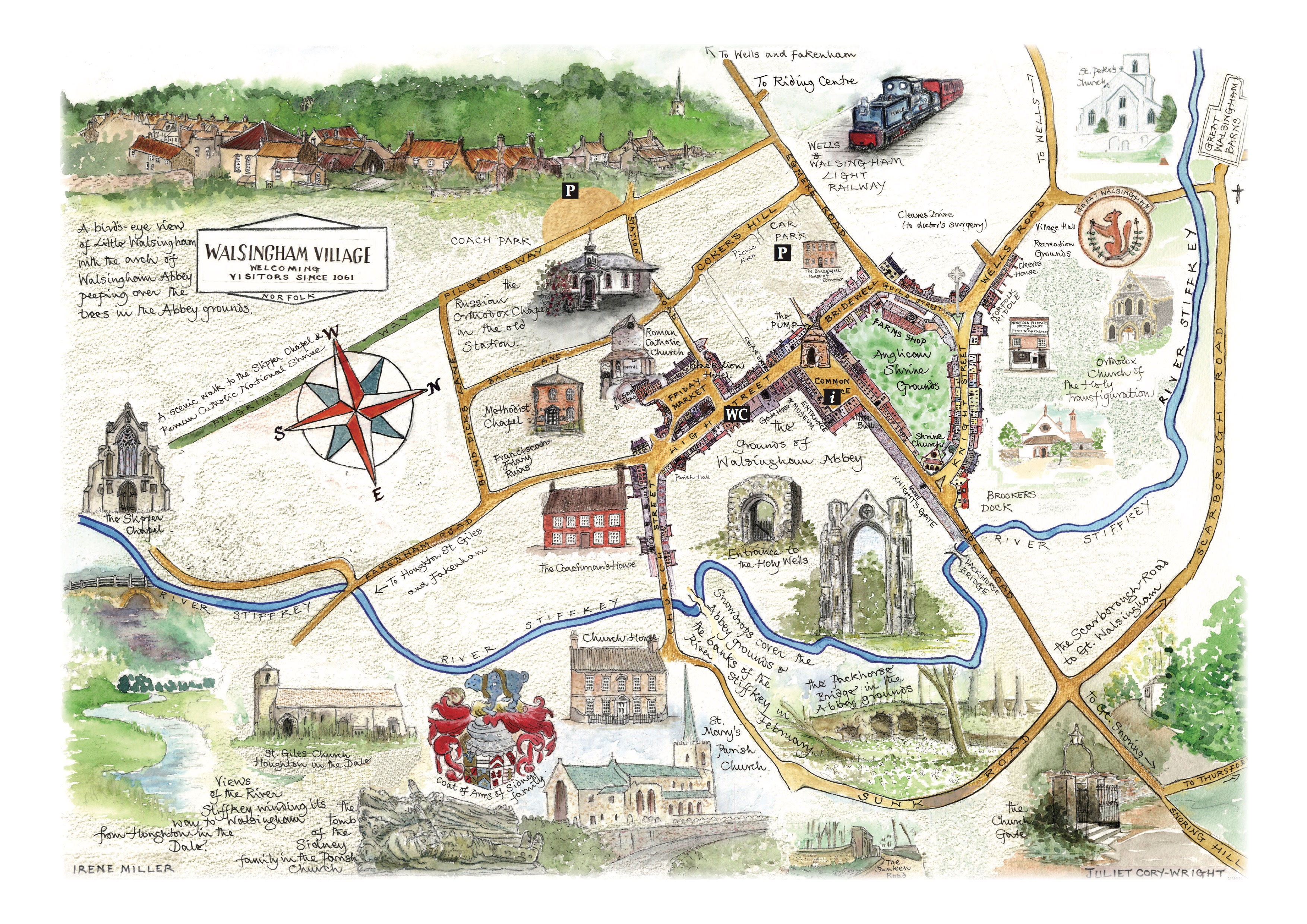 Map Of England Villages.Village Map Walsingham Village