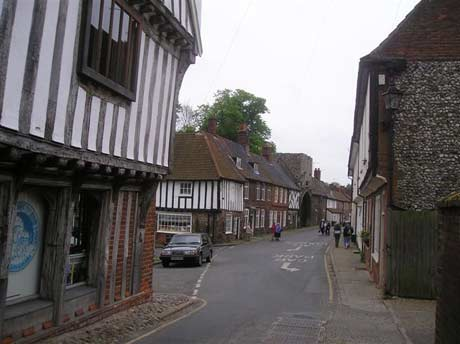 View down Walsingham High Street, with the Shrine Shop shown on the corner