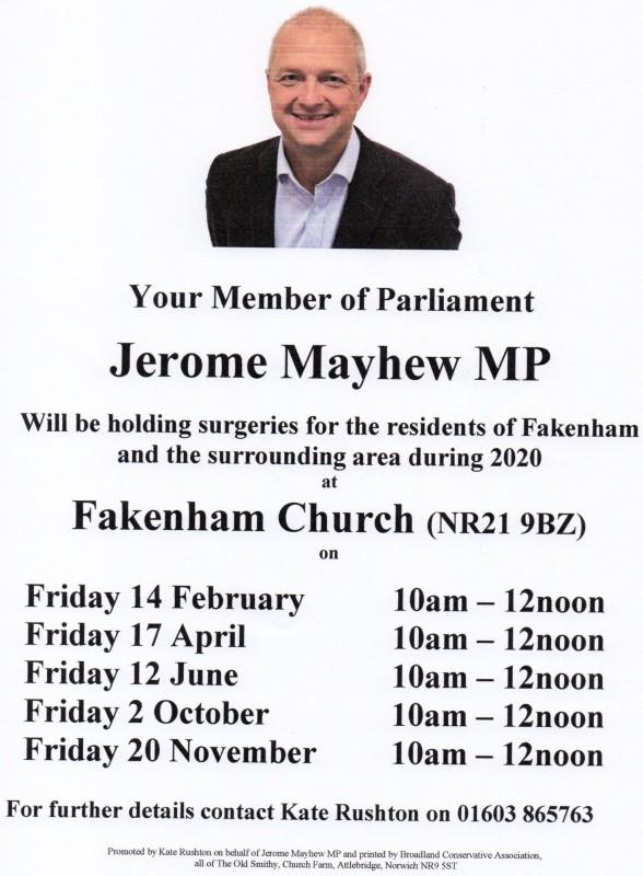 Dates for MP Surgeries in Fakenham 2020